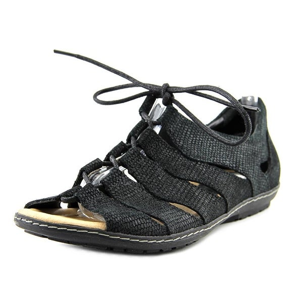 Earth Plover Women  Open Toe Leather Black Gladiator Sandal