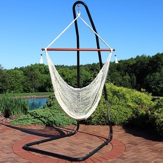 Sunnydaze Cabo Extra-Large Hanging Rope Hammock Chair - Adjustable Stand - Cream - With Stand