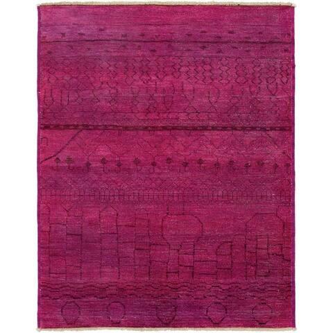 ECARPETGALLERY Hand-knotted Vibrance Dark Pink Wool Rug - 6'2 x 8'7