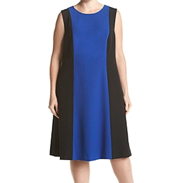 Shop Kasper New Blue Black Womens Size 22w Plus Colorblock Stretch