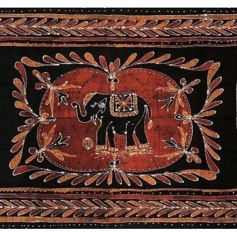 Handmade Cotton Lucky Elephant Batik Print Tapestry Wall Hang Tablecloth Spread Coverlet Beach Sheet Throw Dorm Decor - 3 Sizes