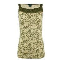 LRL Lauren Jeans Co. Women's Macrame Printed Cotton Tank Top