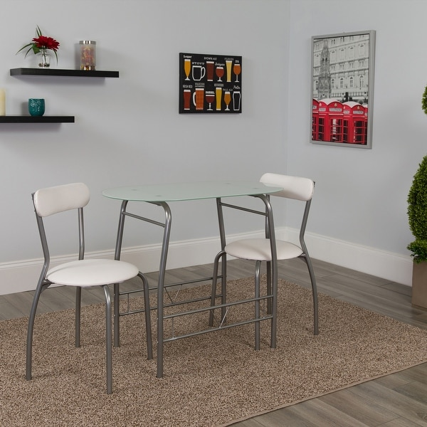Sutton 3 Piece Space-Saver Bistro Set with Glass Top Table and Vinyl Chairs. Opens flyout.