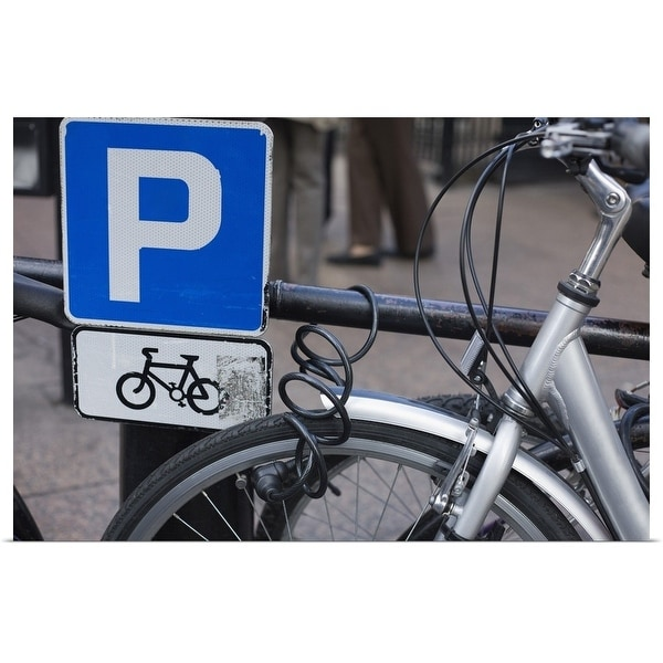 """""""Bicycle and parking sign"""" Poster Print"""