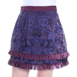 Womens Purple Blue Floral Mini A-Line Cocktail Skirt Size 12