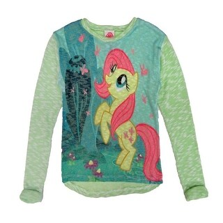 Hasbro Little Girls Blue Pink My Little Pony Print Long Sleeved Sweater