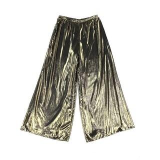 MSK NEW Gold Womens Size Large L Metallic Wide Leg Pull-On Palazzo Pants