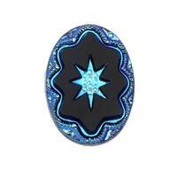 Czech Glass, Vintage Style Intaglio Star Cabochon 25x18mm, 1 Piece, Scarab Blue on Jet