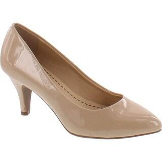 City Classified James Women's Pointed Toe Slip On Mid Heel Basic Dress Pump - Dark Beige