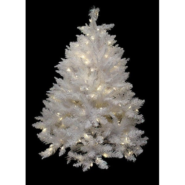 4.5' Pre-Lit White Sparkle Spruce Artificial Christmas Tree - White LED Lights