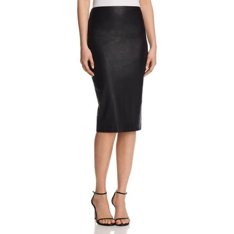 Theory Womens Pencil Skirt Lamb Leather Skinny