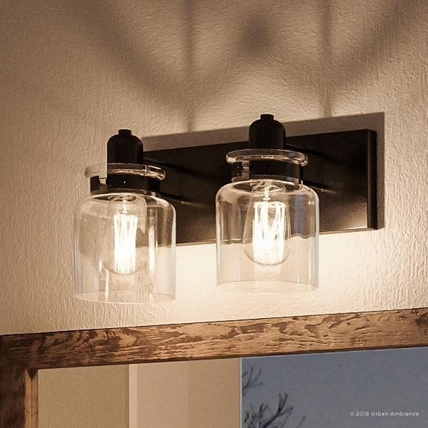 """Luxury Modern Farmhouse Bathroom Vanity Light, 8.625""""H x 13.25""""W, with Industrial Style, Olde Bronze Finish by Urban Ambiance. Opens flyout."""