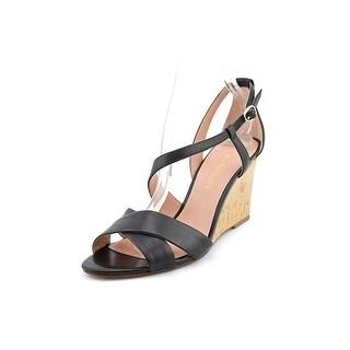 Enzo Angiolini Vanida Open Toe Leather Wedge Heel