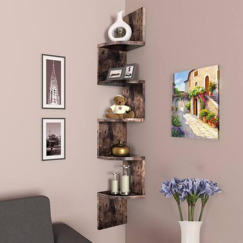 NOVA FURNITURE 5 Tiers Floating Wall Mount Corner Shelf, Home Decor Display Shelves, Rustic Oak