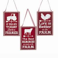 "Pack of 12 Red and White Checker Framed Vintage Inspired ""Farm"" Christmas Ornaments 5"""