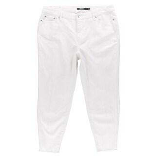 Lauren Ralph Lauren Womens Plus Skinny Jeans White Wash Frayed Hem