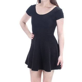 PLANET GOLD $39 Women New 1134 Black Short Slv Fit + Flare Dress 2XS Juniors B+B