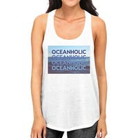 Oceanholic Women White Graphic Tanks Lightweight Tropical Tank Top