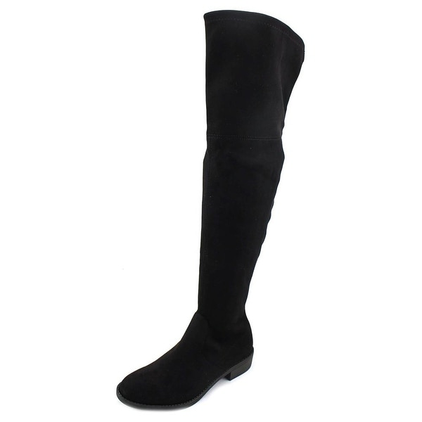No Parking Kordial Women Round Toe Canvas Black Over the Knee Boot