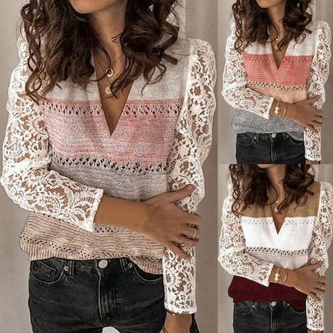 Women Lace Patchwork Long Sleeve Color Block V Neck Pullover Knitted Sweater