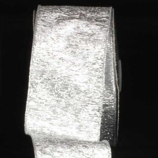 "Elegant Shimmering Silver Wired Chicago Polyester & Nylon Decorative Craft Ribbon 3"" x 20 Yards"