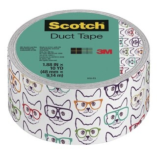 Scotch Duct Tape, 1.88 Inches x 10 Yards, Cat with Glasses