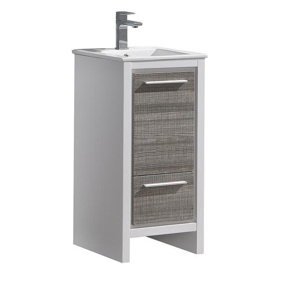 "Fresca FCB8118-I Senza 16"" Single Vanity Set with Wood Cabinet and Ceramic Vanity Top"