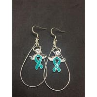Teal Ribbon Angel Charm Earrings for Cancer Awareness