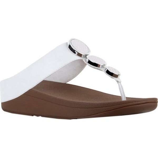 daa81e0b4553 Shop FitFlop Women s Halo Thong Wedge Sandal Urban White Leather ...