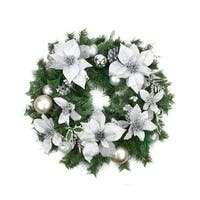 "24"" Pre-Decorated Silver Poinsettia, Pine Cone and Ball Artificial Christmas Wreath - Unlit"
