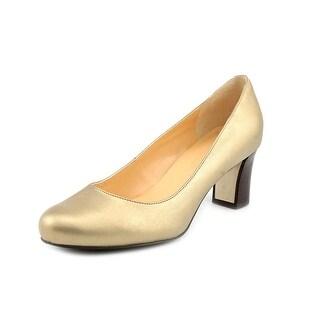 Cole Haan Edie Low.Pump Women Round Toe Leather Gold Heels