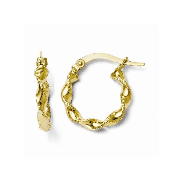 Italian 10k Gold Polished & Textured Twisted Hinged Hoop Earrings