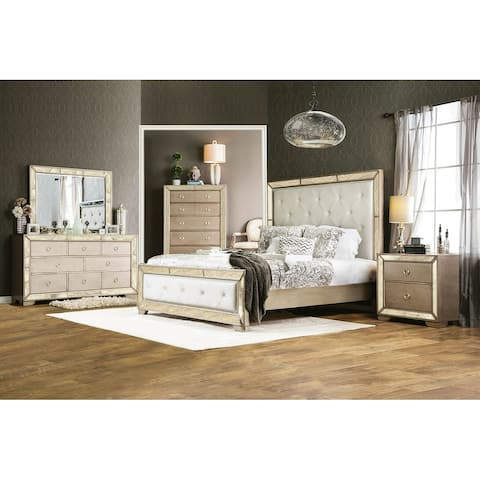 4 Piece Bedroom Set With One Nightstands, Champagne