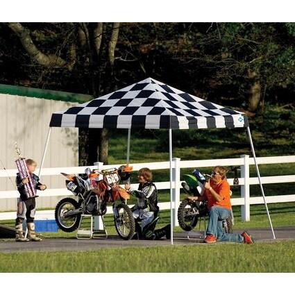 ShelterLogic 22776 10x10 SL Pop-up Canopy Checkered Flag Cover Black Roller Bag