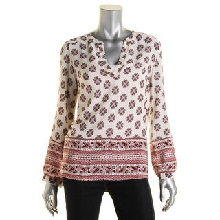 Lush Womens Georgette Printed Pullover Top