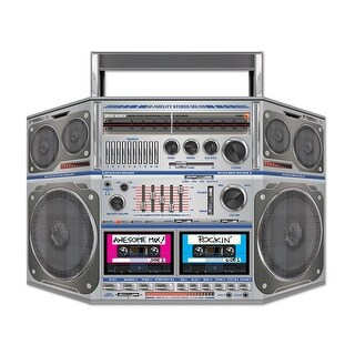 """Pack of 6 Rockin' 80's Cassette Player Boom Box Stand-Up Party Decorations 37"""""""