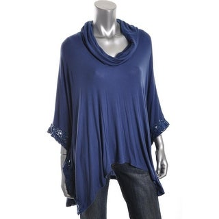 Famous Catalog Womens Modal Blend Ribbed Poncho Top - XL