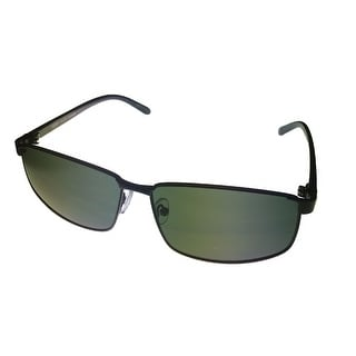Perry Ellis Mens Matte Black Rectangle Metal Aviator PE 44 1 - Medium