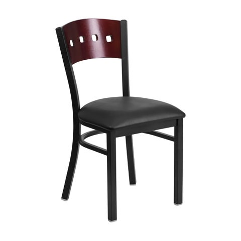 Offex HERCULES Series Black Decorative 4 Square Back Metal Restaurant Chair - Mahogany Wood Back, Black Vinyl Seat