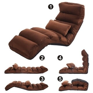 Costway Coffee Folding Lazy Sofa Chair Stylish Sofa Couch Beds Lounge Chair W/Pillow