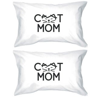 Cat Mom White Standard Size Pillow Case Cute Gifts For Cat Lovers