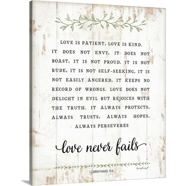 """Love Is Patient"" Canvas Wall Art"