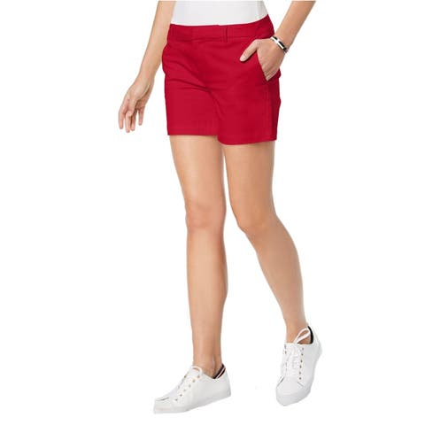 Tommy Hilfiger Solid Red Women's Size 8 Khaki Chino Hollywood Shorts
