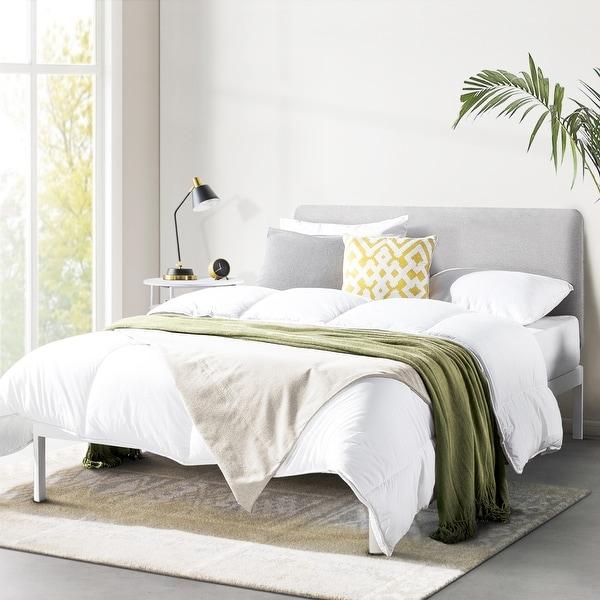 KERT Metal Platform Bed with Fabric Headboard Oak Grey