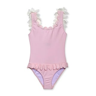 Stella Cove Girls Pink Petal Accents Scalloped One Piece Swimsuit