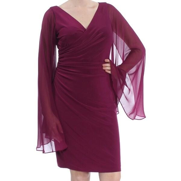 Shop Ralph Lauren Womens Purple Sheer V Neck Faux Wrap