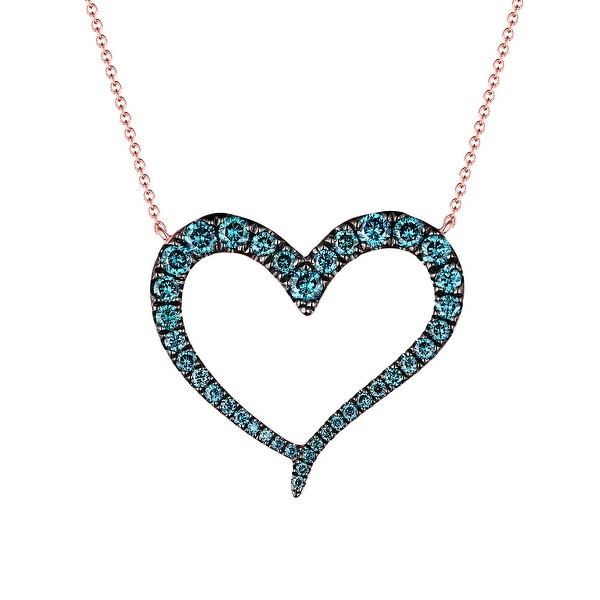 Brand New 0.58Ct Natural Blue/SI1 Diamond Heart Shaped Valentine 17 Inches Necklace
