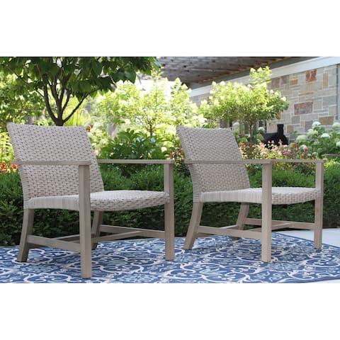 Amarella 2pk. Antique Stain Eucalyptus & Latte Wicker Lounge Chairs