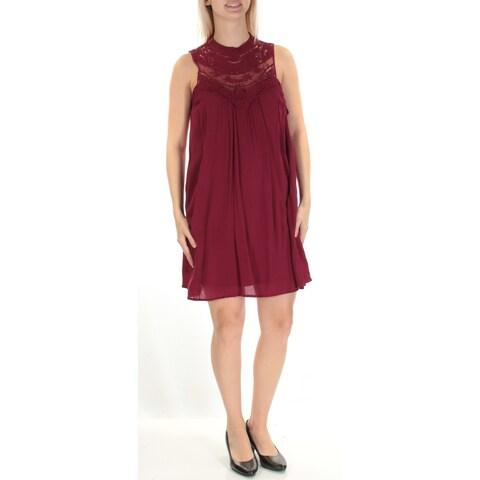 Womens Maroon Sleeveless Above The Knee Shift Casual Dress Size: S