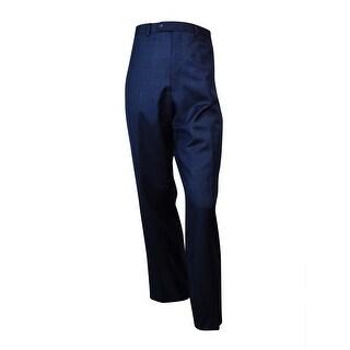 Shaquille O'Neal Men's Herringbone Plaid Dress Pants (38Wx32L, Blue) - 38wx32l